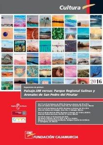 Cartel de la exposición itinerante donde se muestran obras relacionadas con las salinas de San Pedro.